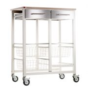 Hahn Onda Double Kitchen Trolley - Ivory and Beech