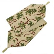 Holly Ribbon Christmas Table Runner 14x72