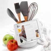 Ladelle Oliver White Gloss Utensil Holder and Tablet Stand 2