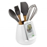 Ladelle Oliver White Gloss Utensil Holder and Tablet Stand 3