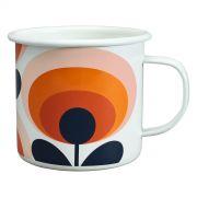 Orla Kiely 70s Flower Enamel Mug - Persimmon