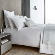 Peacock Blue Hotel Aura White Duvet Cover Set - Superking