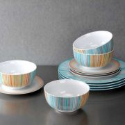 Portmeirion Studio Coral Stripes Set 12 Piece Dinner Set