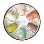 Tipperary Crystal Hat Box Set of 6 Mugs - Wild Roses