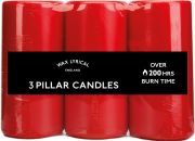 Wax Lyrical Pack of 3 Pillar Candles - Red