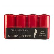 Wax Lyrical Pillar Set of 4 Candles - Red